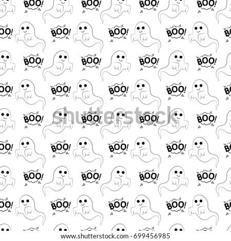 Abstract seamless pattern for girls or boys. Creative vector background with ghost, cloud boo, halloween. Funny wallpaper for textile and fabric. Fashion style. Colorful bright picture for children.