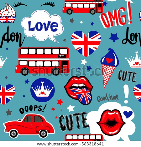 Abstract seamless pattern for girls, wrapping paper, wallpaper, textile, fashion clothes. London repeated background with crown, hearts, kiss lips, british flag, red car and bus. Girlish backdrop