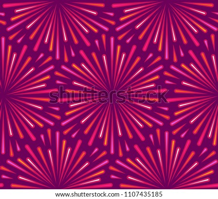 Abstract seamless pattern for textile and design. Pink radial explosions on a purple background