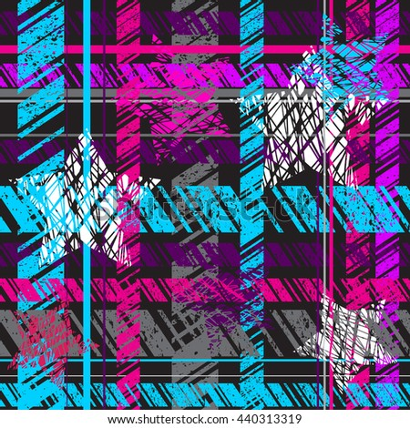 Abstract seamless  pattern for textile. plaid material. Wallpaper with bright geometric elements for guys. Modern grunge background. pattern for boys and girls.