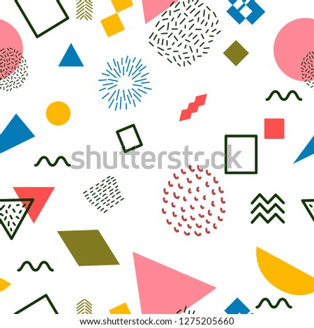 Abstract seamless pattern, hand  drawn, Memphis style,  white background, design for textiles and packing,  vector illustration