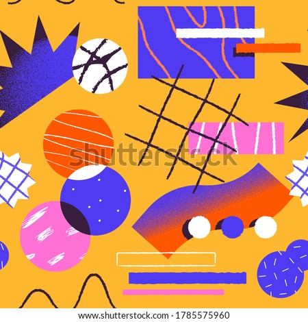 Abstract seamless pattern illustration of colorful geometric shapes with unusual 90s cartoon doodle decoration. Fun retro art style background.