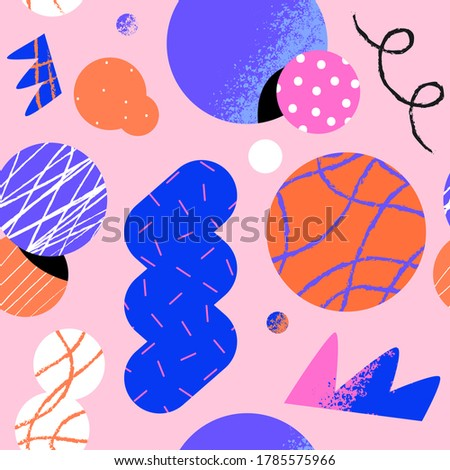 Abstract seamless pattern illustration of trendy geometric shapes with unusual 90s style cartoon doodle background.