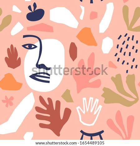 Abstract seamless pattern illustration with natural shapes, freehand matisse style modern decoration. Trendy fashion background includes minimalist terrazzo art and exotic summer doodles.
