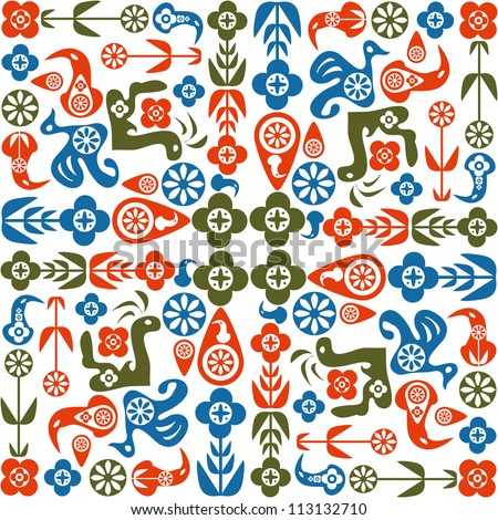 Abstract seamless pattern of birds and flowers