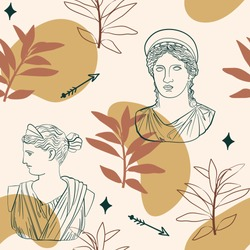 Abstract seamless pattern of greek  sculpture line drawing,organic shapes and  leaves. Vector Illustration inspired by antiquity civilizations.