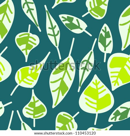 abstract seamless pattern of green leaves