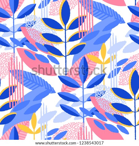 Abstract seamless pattern of minimalistic leaves in vibrant colors. Modern vector design