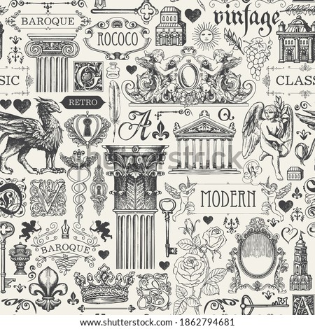 Abstract seamless pattern on the theme of vintage art objects, furniture and Antiques. Vector background with black sketches and drawings in retro style. Suitable for wallpaper, wrapping paper, fabric Сток-фото ©
