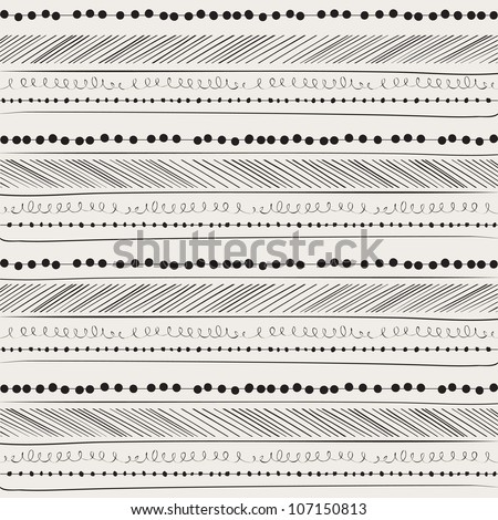 Abstract seamless pattern. Paper background with Hand drawing elements. Beige with black.