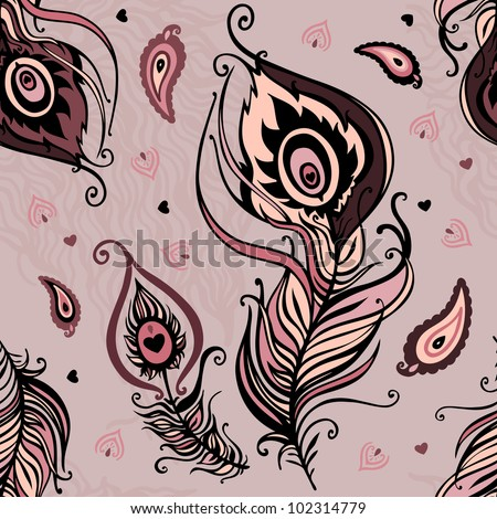 Abstract seamless pattern. Peacock feather. Vector background.