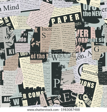 Abstract seamless pattern with a collage from newspaper and magazine clippings. Vector background with unreadable text, titles and illustrations. Suitable for Wallpaper, wrapping paper or fabric Photo stock ©