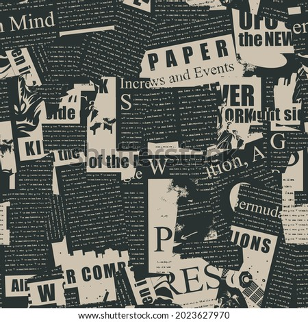 Abstract seamless pattern with a collage of magazine and newspaper clippings. Vector background with illegible text, titles and illustrations on a black. Wallpaper, wrapping paper, fabric Photo stock ©