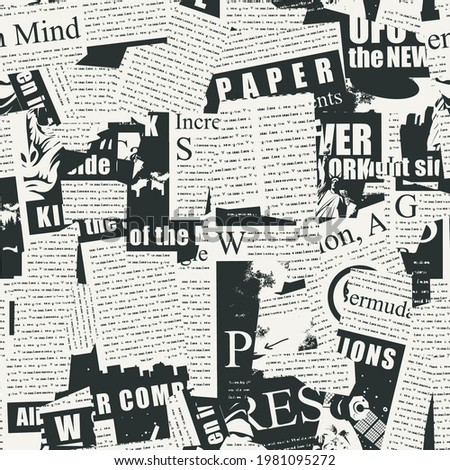 Abstract seamless pattern with a collage of newspaper clippings. Black and white background with unreadable text, titles and illustrations. Wallpaper, wrapping paper or fabric in retro style