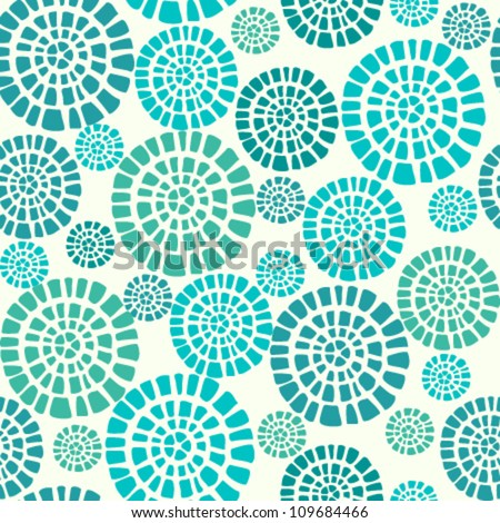 Abstract seamless pattern with blue circle elements. Ethnic summer texture