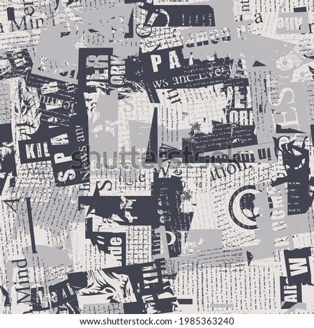Abstract seamless pattern with chaotic layering of newspaper text, illustrations and titles. Monochrome repeating vector background in modern style, suitable for wallpaper, wrapping paper, fabric desi Foto stock ©