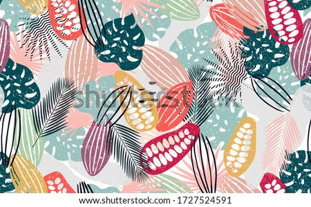 Abstract Seamless Pattern with Cocoa Beans and Tropical Leaves. Chocolate Background. Vector illustration.