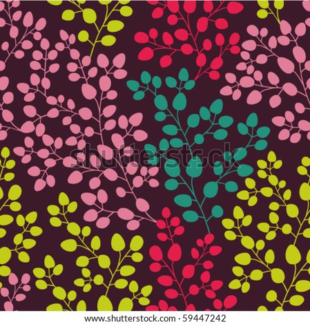 Abstract seamless pattern with colored branches