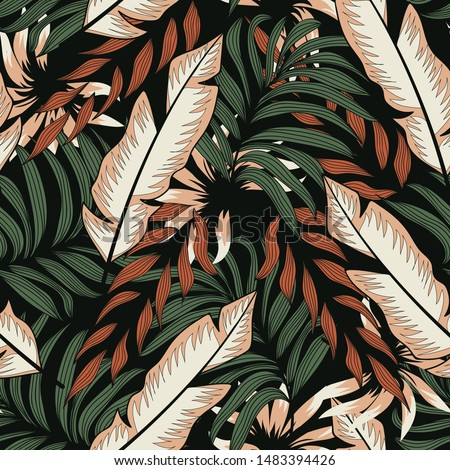 Abstract seamless pattern with colorful tropical leaves and plants on black background. Vector design. Jungle print. Floral background. Printing and textiles. Exotic tropics. Summer.