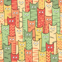 Abstract seamless pattern with cute texture cats for girls, boys, clothes. Creative vector background with cat, eyes .Funny wallpaper for textile and fabric. Fashion style. Colorful bright.