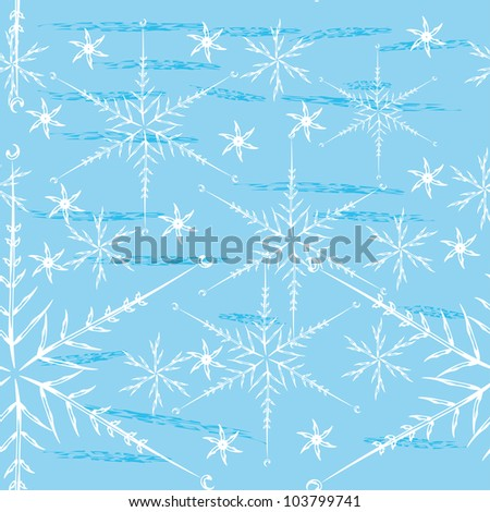 abstract seamless pattern with different snowflakes. Beauty winter background