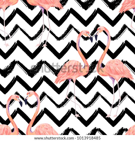Abstract seamless pattern with exotic flamingo on striped chevron background. Summer watercolor print. Vector illustration - Shutterstock ID 1013918485