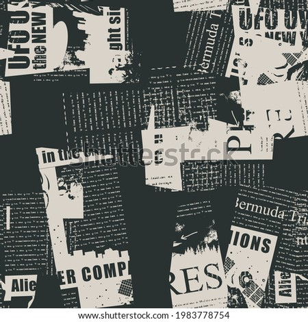 Abstract seamless pattern with fragments of newspaper and magazine pages. Monochrome vector background with illegible text, titles and illustrations in grunge style. Wallpaper, wrapping paper, fabric