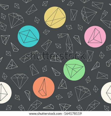 Abstract seamless pattern with geometric figures and diamonds on black background. Vector illustration.