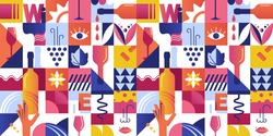 Abstract Seamless Pattern with Geometric Shapes and Wine Tasting Concept Elements. Vector illustration