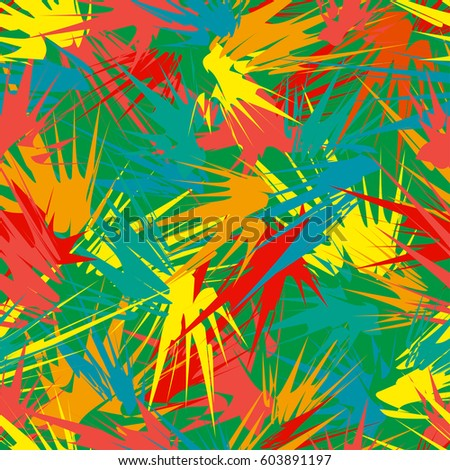 Abstract seamless pattern with geometrical multicolored strokes on green background. Unusual colorful texture with tropical motifs.