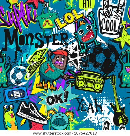 Abstract seamless pattern with grunge elements, spray paint ink, electro guitar, soccer ball, monster cartoon charter, 3d stars,  Record player, sport shoes, comic speech cloud, text ok, cool, super.