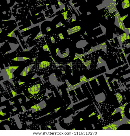 Abstract seamless pattern with grunge textured words, shabby repeats element, graffiti text. Repeated backdrop for boy, sport textile, fashion clothes, wrapping paper. Abc iterative military wallpaper