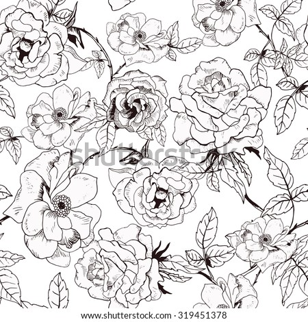Abstract seamless pattern with hand drawing isolated white roses. Vector illustration.