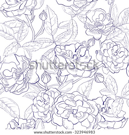 Abstract seamless pattern with hand drawing isolated white roses with black outline. Vector illustration.