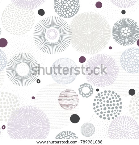 Abstract seamless pattern with Hand drawn circles pastel colors on white background.