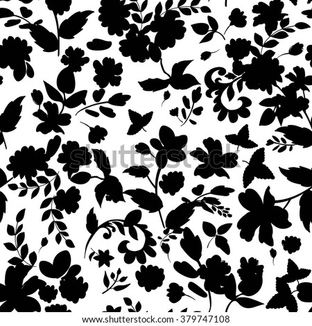 Abstract seamless pattern with isolated flowers silhouettes on white background. Vector illustration.