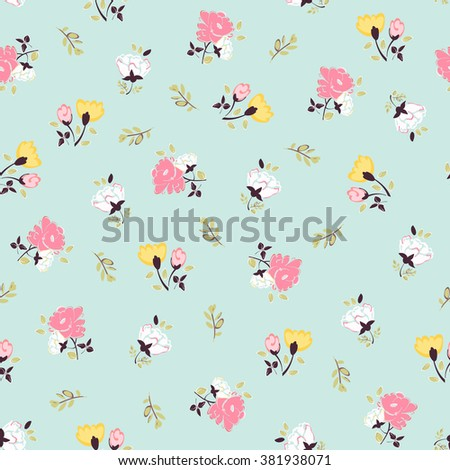 Abstract seamless pattern with isolated hand drawing flowers. Vector illustration.