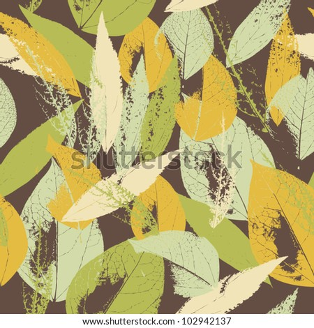 Abstract seamless pattern with leaves  Background with flowers grunge texture