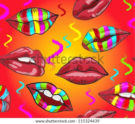 Abstract seamless pattern with lips