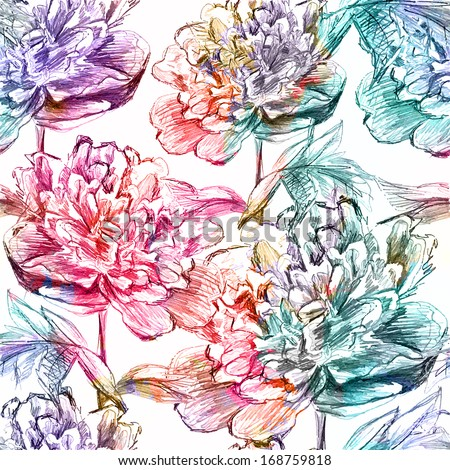 Abstract seamless pattern with peony flowers. Vector, EPS 10