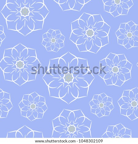 Abstract seamless pattern with purple morning glory flowers pattern.