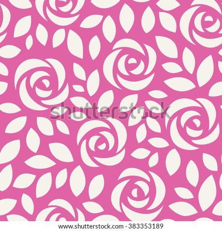 Abstract seamless pattern with roses. Floral wallpaper with cute flowers and leaves