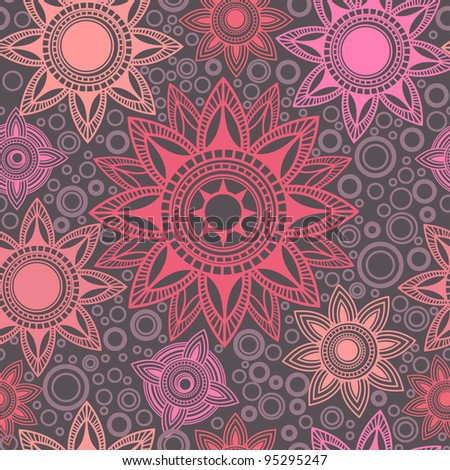 Abstract seamless pattern with round elements - stock vector