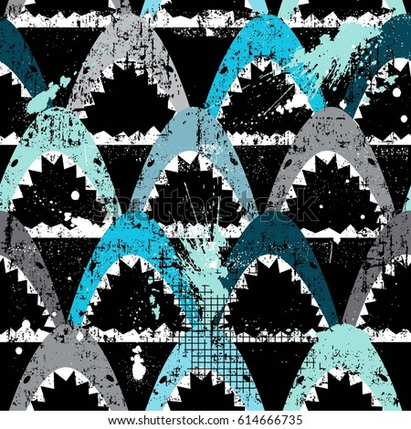 Abstract seamless pattern with sharks.Grunge modern background for boys and girls,  For prints, T-shirts, textiles,fabric, web. Urban dark wallpaper.