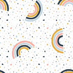 Abstract seamless pattern with terrazzo and simple geometric rainbows. Simple stripy arc bows on colorful mozaic texture. Childish vector background in Scandinavian style in bright multicolour palette