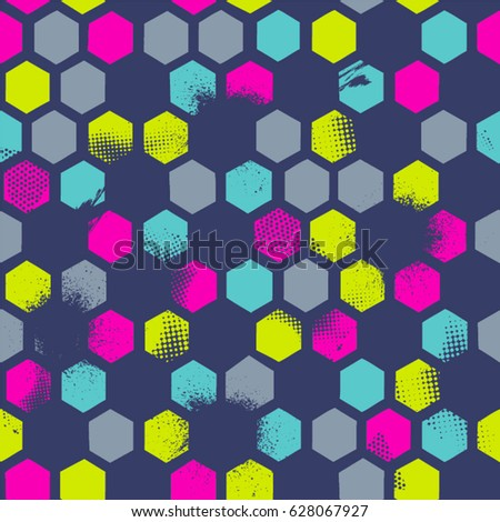 Abstract seamless  pattern with urban geometric elements, scuffed, sprays. Grunge neon texture background. Wallpaper for boys and girls.