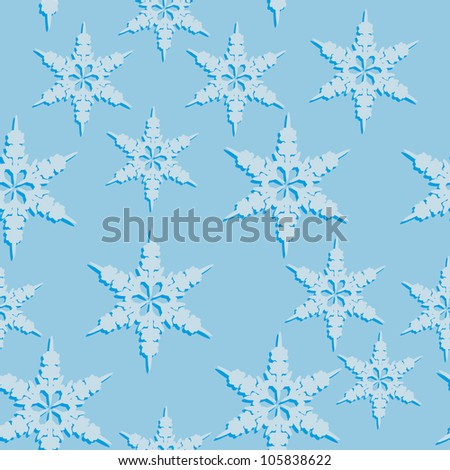 abstract seamless pattern with winter snowflakes. Vector illustration