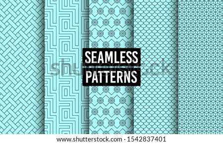 Abstract seamless patterns. Geometric textures. Linear ornament decoration. Repeatable simple seamless textures. Tileable swatches. Vector