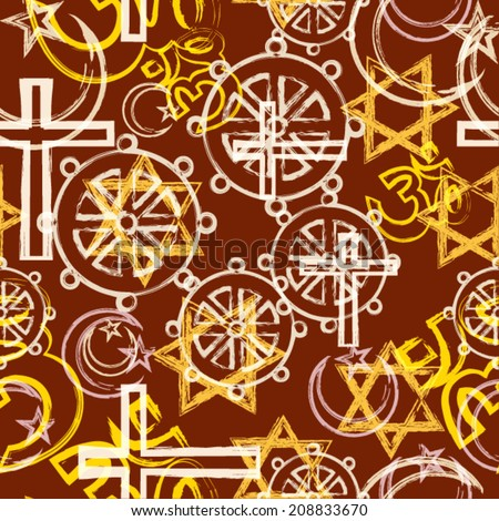 abstract seamless patterns with religion symbols