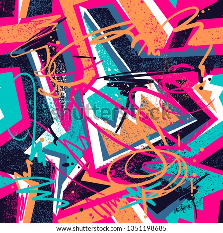 Abstract seamless repeated backdrop for sport textile, fashion clothes, wrapping paper. Grunge geometric repeats backdrop. graffiti style ornament